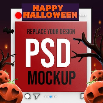 Socail media square mockup design renderização 3d