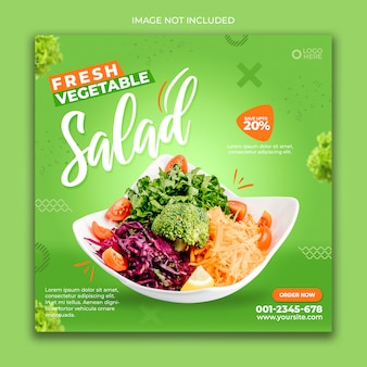 Social media banner post food salada verde