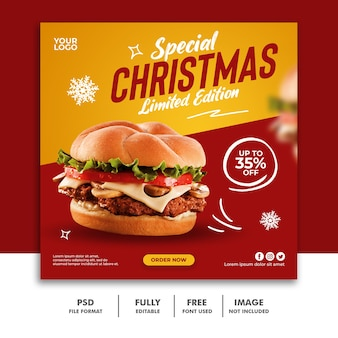 Social media post chirtsmas banner template para restaurant fastfood menu burger