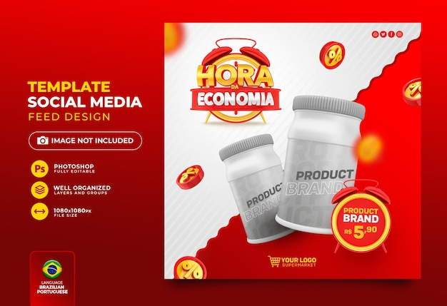 Social media post economy time 3d render no brasil template design em português
