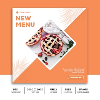 Social media post template banner quadrado para instagram, restaurante comida limpa elegante moderna laranja