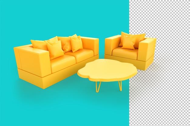 Sofá amarelo minimalista e cadeira sobre fundo verde-azulado. ilustração 3d