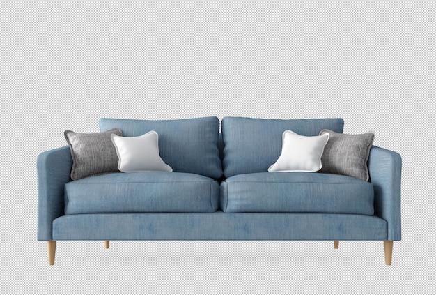 Sofá azul e almofadas na renderização em 3d