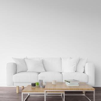 Sofá branco e mesa de madeira
