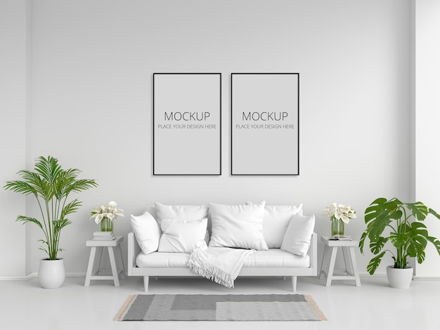 Sofá branco na sala de estar branca com moldura