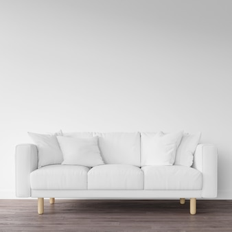 Sofá branco no chão de madeira