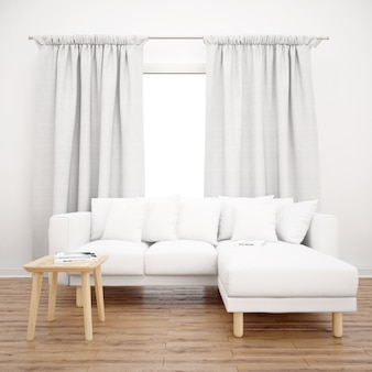 Sofá branco sob uma janela