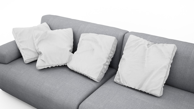 Sofá cinza elegante com almofadas isoladas