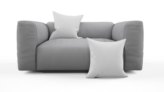 Sofá cinza elegante de um lugar