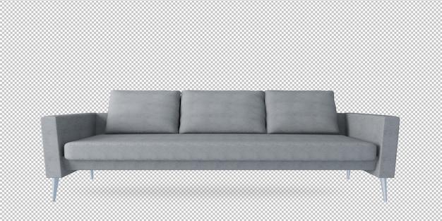 Sofá cinza em renderização em 3d