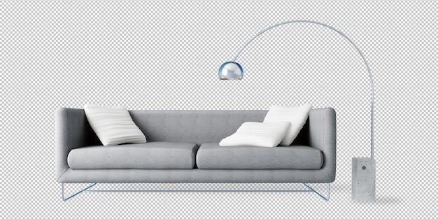 Sofá cinzento e lâmpada de assoalho na rendição 3d
