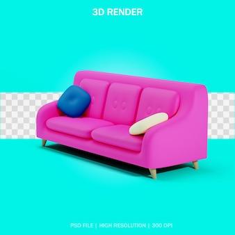 Sofá com duas almofadas com fundo transparente em design 3d