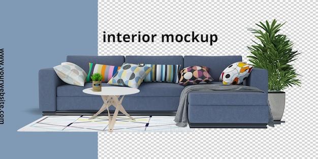 Sofá com planta, mesa e maquete de carpete em renderização 3d