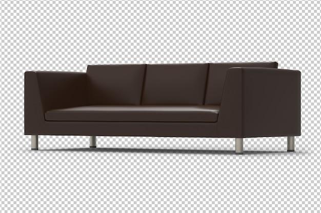 Sofá de couro marrom isolado
