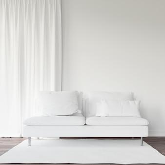 Sofá e cortina brancos