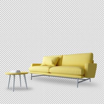 Sofá e mesa amarelos na renderização em 3d