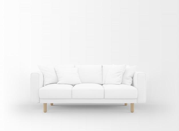 Sofá em branco realista com mesinhas isolado no branco