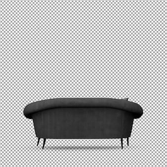Sofá em renderização 3d isolado