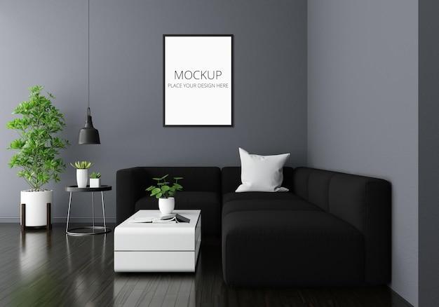 Sofá no interior da sala de estar cinza com maquete