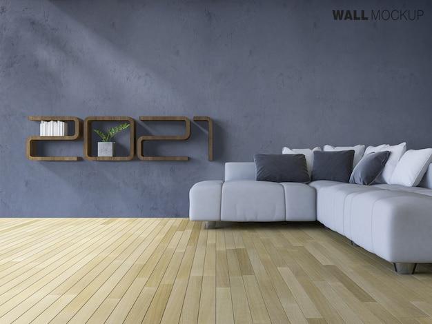 Sofá situado no chão de madeira com maquete de parede