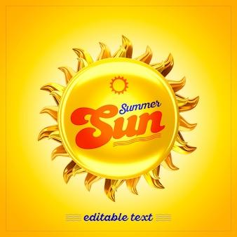 Sol de verão 3d