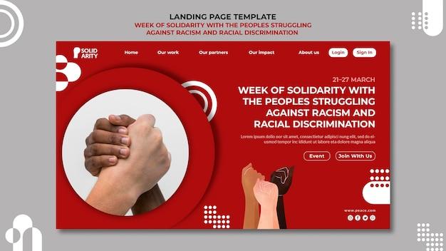 Solidariedade para pessoas que lutam contra o racismo página de destino