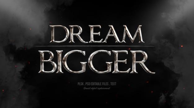 Sonho maior efeito de estilo de texto 3d