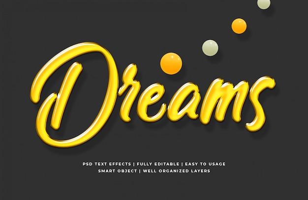 Sonhos efeito de estilo de texto 3d