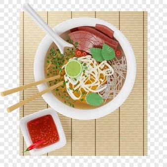 Sopa vietnamita 3d pho bo com macarrão de arroz bovino em uma esteira de bambu, vista superior