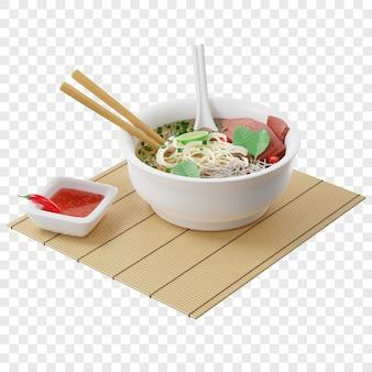 Sopa vietnamita 3d pho bo com macarrão de arroz de carne em uma esteira de bambu vista isométrica