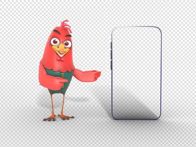 Sorrindo, personagem 3d, ilustração apontando móvel, para, propaganda