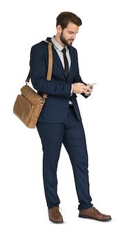 Sorriso de telefone de homem de negócios caucasiano