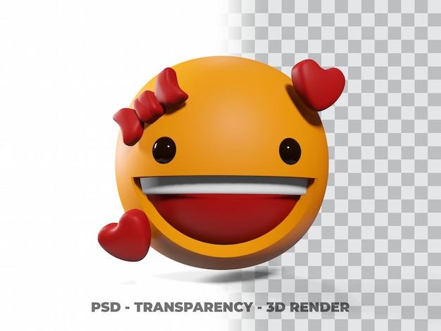 Sorriso emoticon 3d com fundo de transparência