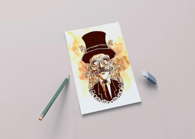 Sorteio artístico na folha com lápis