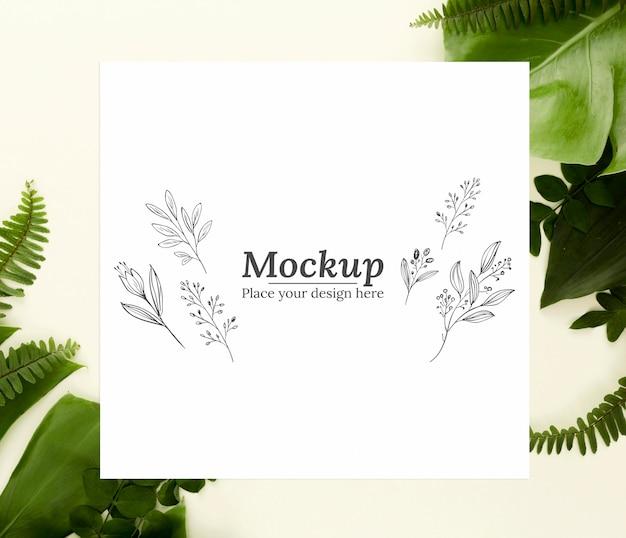 Sortido de folhas verdes com mock-up