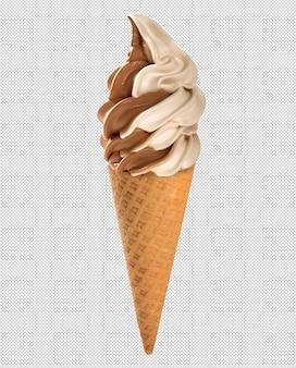 Sorvete de chocolate e baunilha no cone crocante