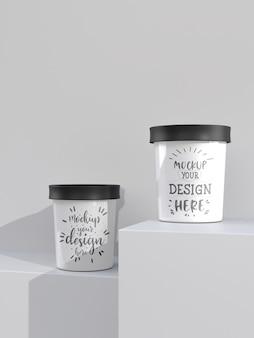 Sorvete de xícara de maquete. maquete do modelo de embalagem para sorvete, iogurte, pudim, lanche, doces, sobremesa