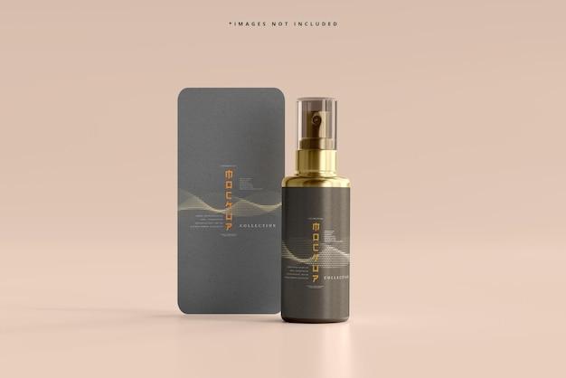 Spray cosmético com maquete de garrafa de cartão vertical