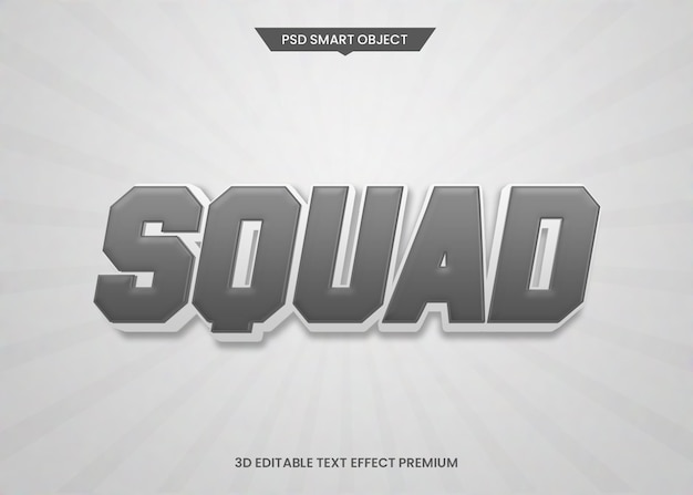 Squad sports style 3d editable style style effect