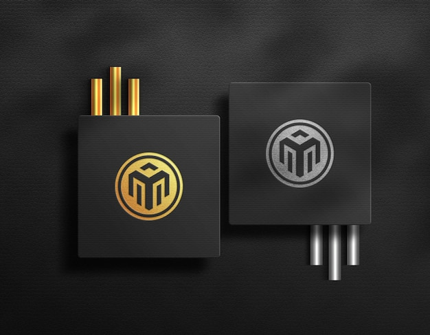 Square card logo mockup luxury golden effect