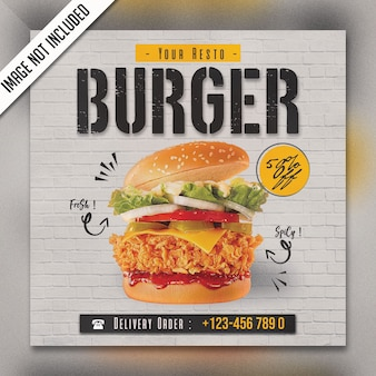Square food menu panfleto especial psd