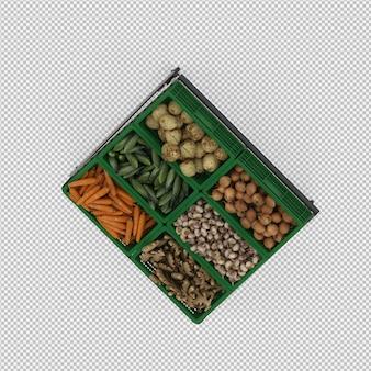 Stand de vegetais isométrico mercado 3d render