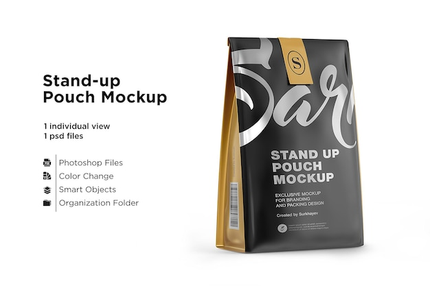 Stand up matte pouch com maquete isolada