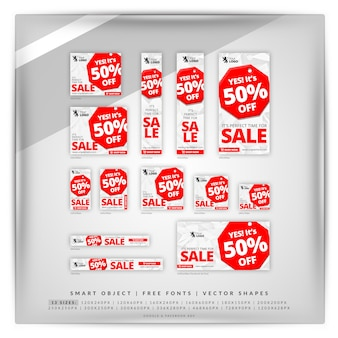 Stop sale google banner set