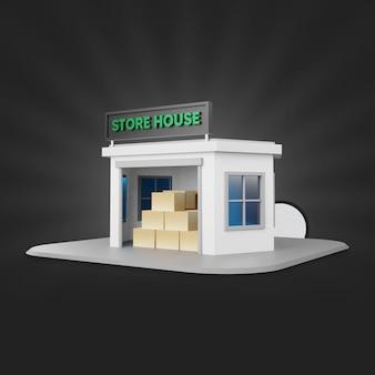 Store house 3d render com caixa de papelão