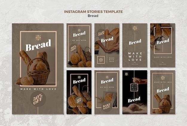 Stories do instagram de negócios de pão
