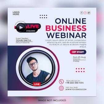 Streaming ao vivo webinar marketing digital e modelo de postagem de mídia social corporativa