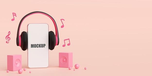 Streaming de música no aplicativo do smartphone, ilustração 3d