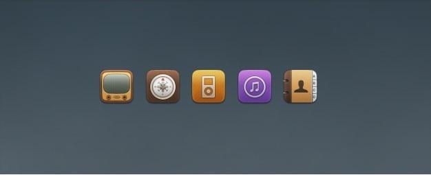 Substituição icons youtube, compass, ipod, itunes, e contactos