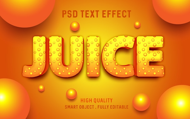 Suco de laranja com efeito de texto líquido de bolha